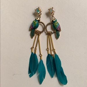 Parrot Dangle Feather Earrings
